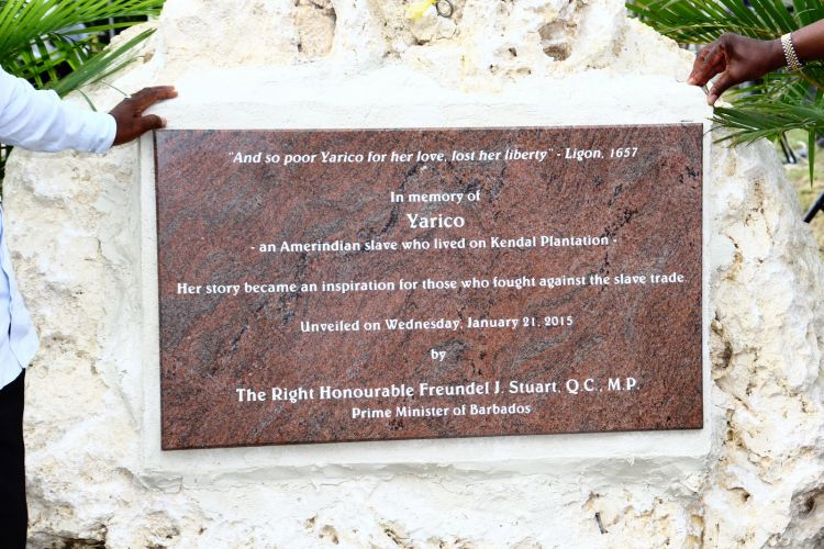 Yarico monument erected in Barbados